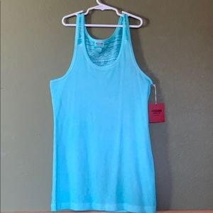Teal tank top with patterned back.
